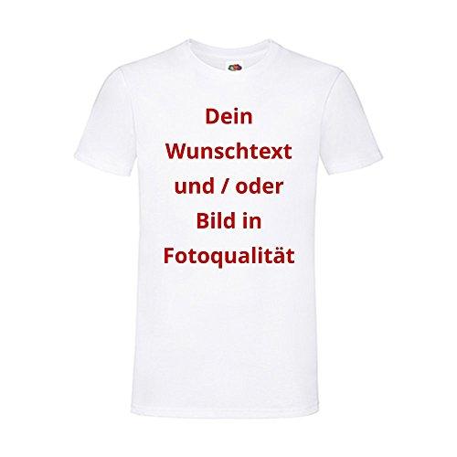 T-Shirts Bedrucken Lassen - Wunsch Text und Bild Textil Druck für Frauen Männer Kinder | Personalisiert Farbe Weiss, Größe L (L)