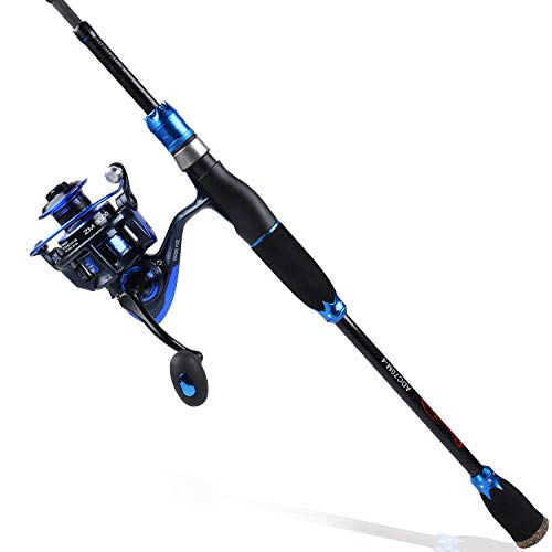 Sougayilang Spinning Fishing Rod Reel Combos,24-Ton Carbon Fiber Protable Fishing Poles with Spinning Reel for Travel Freshwater Fishing-1.8M Blue Crown Spinning Combos