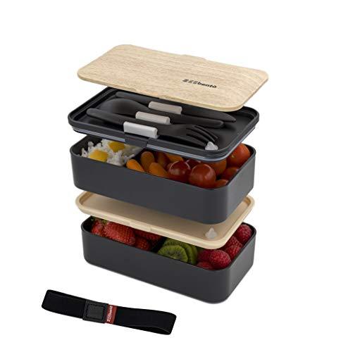 ZEEbento ® Bento Lunch Box Bambou Design   Bento Japonais   Hermétiques   Résiste au Micro-Ondes et Lave-Vaisselle   sans PBA   Boîte Repas pour la famille   Marque Déposée   Bento Qualité