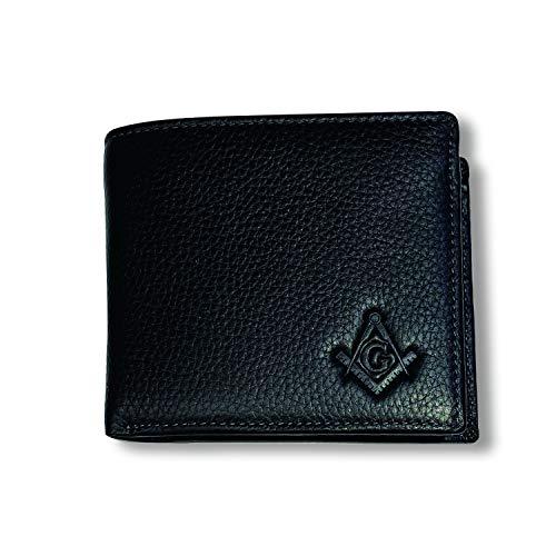 Square & Compass Leather Bi-Fold Masonic Wallet - [Black]
