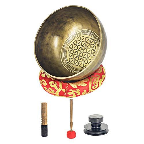 MooKe 18CM Tibetan Sing Bowl Set Große, Handgemachte Nepalesische Meditationsklangschale Blume des Lebens, Planetarische Himalaya-Energie, Bronze-Pavillon des Lebens