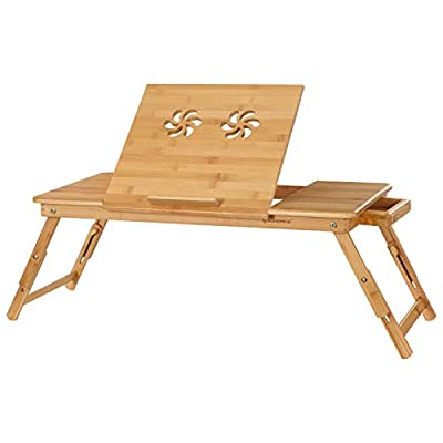 SONGMICS Large Right-Left Handed Laptop Desk Bamboo Bed Tray Tilting Top Drawer