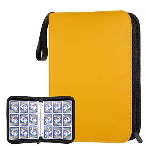 POKONBOY 720 Pockets Baseball Card Binder Sleeves, Trading Card Binder Holder Compatible with Pokemen, Football and Sports Cards (Yellow)