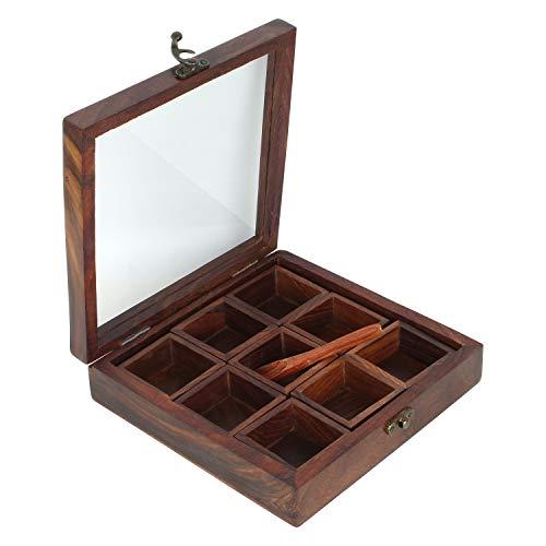 Ajuny Masala Dabba - Caja de madera para especias indias con tapa...