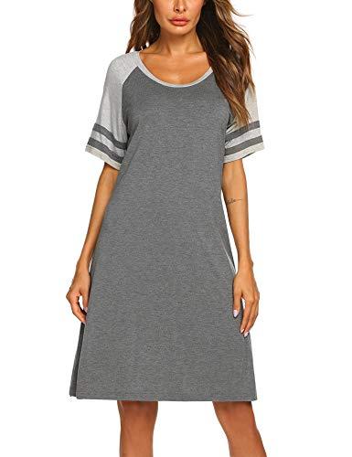 Balancora Damen Nachthemd Baumwolle Rundhals Kurzarm Nachtkleid Sleepwear aus Baumwolle S-XXL
