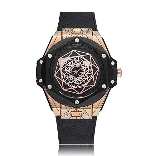 Uhren 6868 Geometric Polygon Dial Quartz Dual-Bewegungs-Uhr-Männer TPU-Bügel-Uhr Asun (Color : Color2)