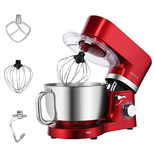 ROVSUN 5.8 Quart Stand Mixer, 660W 6-Speed Electric Tilt-Head Kitchen Food Mixer with Stainless Steel Bowl, Dough Hook, Beater, Whisk (Red)