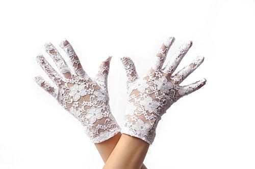 DRESS ME UP - RH-007-white Handschuhe Spitze Spitzenhandschuhe kurz Damen Weiß Gothic Viktorianisch Biedermeier Barock