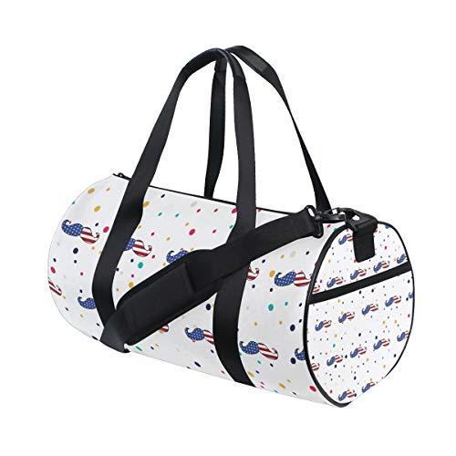 Usa Flag Mustache Gym Duffel Bag, Training Duffle Bag DKRetro Round Travel Sport Bags for Men Women American Classic Club Duffel