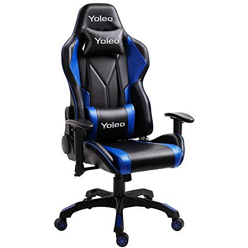 YOLEO Gaming Stuhl Bürostuhl Racing Stuhl Gamer Ergonomischer Stuhl mit Lendenkissen, Hohe Rückenlehne Verstellbarer Drehstuhl, mit einstellte Kopfstütze,150 kg Belastbarkeit, PU-Leder (Schwarz-Blau)