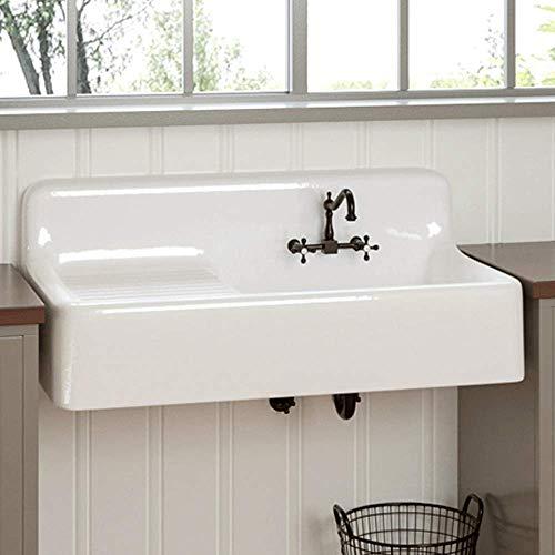 "Magnus Home Products 42"" Sudbury Cast Iron Wall-Hung Kitchen Sink w/Left Side Drainboard, 42"" L x 20 7/8"" W, 300.0 lb"