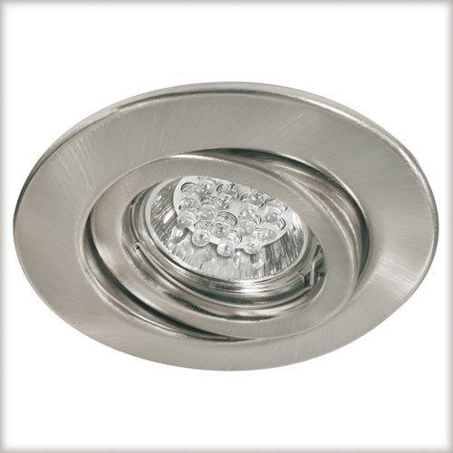 Paulmann 92016 Quality Line 1W Komplettset inkl. GU10 Leuchtmittel LED Geb. schwenkb. 1er Set 230V Metall Eisen gebürstet Einbauleuchte, 1 W, Silber