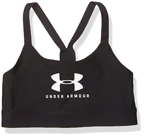 Under Armour Armour Mid Keyhole Bra Graphic Sports Bra, Black (001)/White, Medium