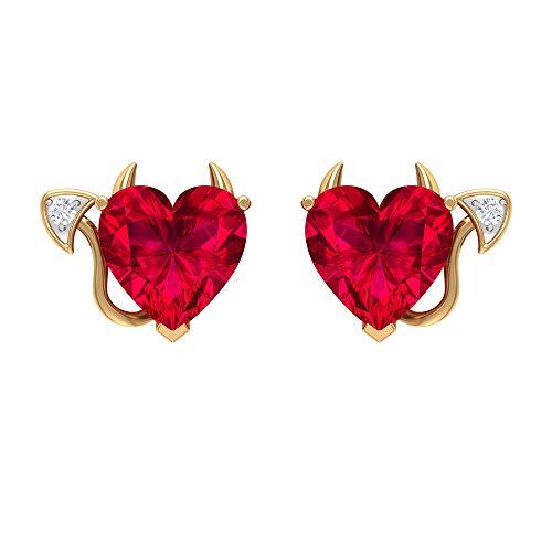 4 CT Laboratorio creado Rubí y Diamantes, Pendientes de Diablo, Joyería del Diablo para Mujer (8 mm en forma de corazón creado Ruby), Tornillo de vuelta rojo