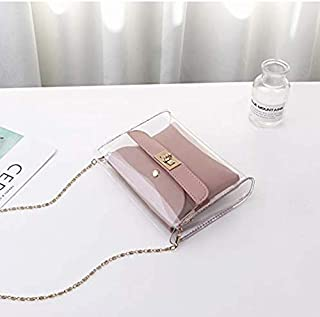 2 in 1 Transparent PVC Shoulder Leather Clutch Bag/Jelly Beach Tote/Crossbody Shoulder Hand Bag