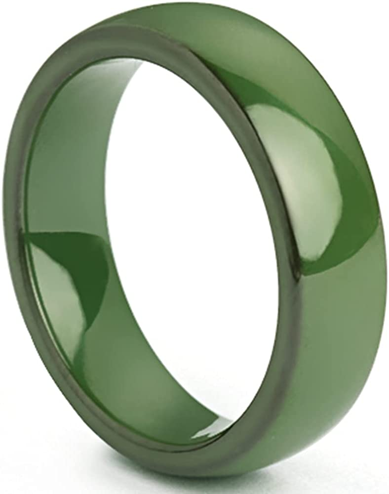 8mm Width High Polished Classic Simple Plain Dome Style Ceramic Wedding Band Ring