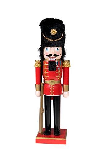 Clever Creations - Nussknacker-Soldat mit Gewehr - Festliche Weihnachtsdeko - perfekt für Regale & Tische - 100% Holz - Uniform in Rot, Gold und Schwarz - 35,6 cm