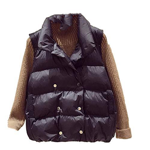 Chaleco de algodón para mujer, abrigo, cálido, sin mangas, casual, holgado, de algodón, acolchado, chaleco de plumón