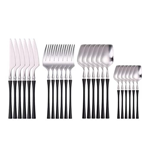 Set de cubiertos Conjunto de 24 piezas Forks Cuchillos Spmoons Setware Set Vajilla Portátil Dorado Cubiertos Set Silverware Tenedor Cuchara (Color : Matte black silver)