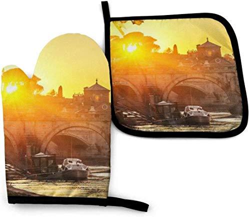 Qefgjbw Sunset At Tiber River St Peter Roma City - Manoplas de horno y soportes para ollas, diseño de mármol blanco y negro