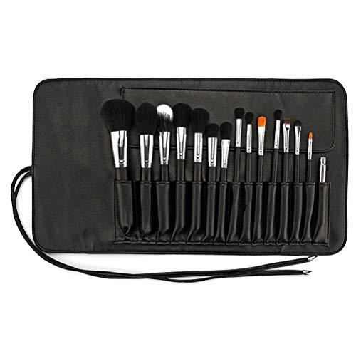 Frcolor 15pcs cas de brosse de maquillage en cuir PU organisateur de sac de brosse cosmétique pour voyage (brosse non incluse)