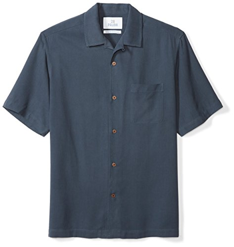 Marchio Amazon - 28 Palms Relaxed-Fit Short-Sleeve 100% Silk Solid Camp Shirt Button-Down-Shirts, Blue Night, US M (EU M)
