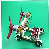 AMOYER Bricolaje energía eólica Kit de Coche eléctrico para niños Experimentos de Madera para la Educación la Ciencia Física Kinder Circuito Stem Juguetes 1set