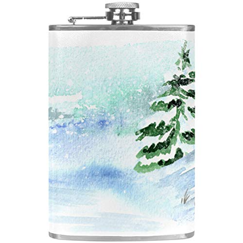 Edelstahl-Flachmann, 237 ml, für Likör, mit Trichter, Weihnachtsbaum, weißer Schnee