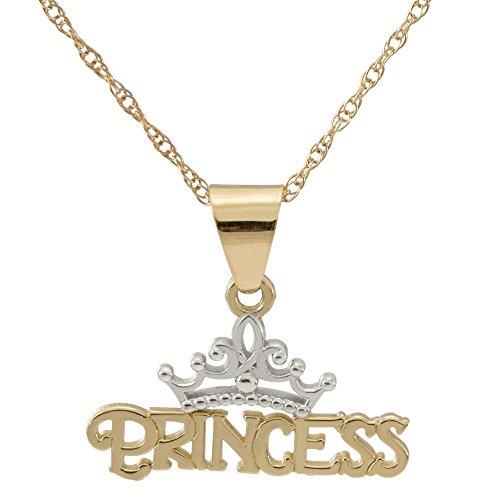 "Disney Princess Jewelry for Women, 14K Yellow Gold Princess Tiara Pendant Necklace, 16"" Chain"