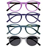 Opulize Zen Pack 4 Gafas De Lectura Con Lectores De Sol Rosa Púrpura Turquoise Cristal Pequeño Hombres Mujeres RRRS24-45QC +2,00