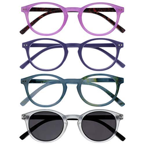 Opulize Zen Pack 4 Gafas De Lectura Con Lectores De Sol Rosa Púrpura Turquoise Cristal Pequeño Hombres Mujeres RRRS24-45QC +1,00