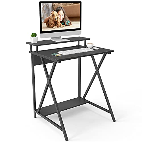 Naspaluro X-Shaped Computer Desk, PC Desk Workstations with Monitor Shelf & Storage Shelves, Home Office Desk for small spaces, Black