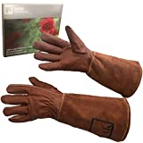ArtAK Rose Pruning Gloves, Leather Rose Gardening Gloves Thorn Proof Long Sleeve for Women and Men Rose Gloves for Rose Bushes Ready to Plant Cowhide Suede Gauntlet Brown Garden Gloves Med