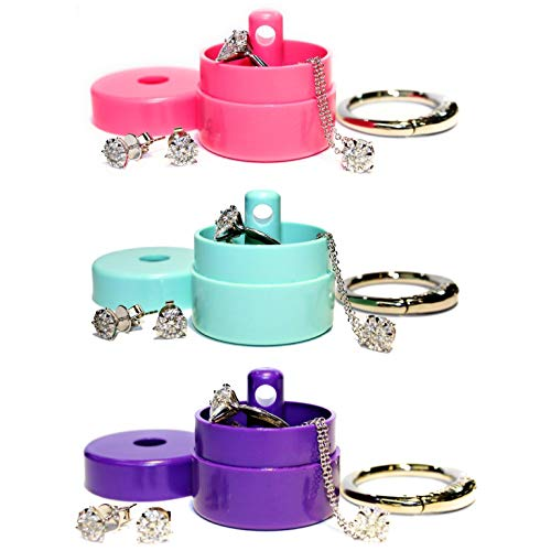 3 Pack- Lion Latch Traveling Jewelry Storage Keychain Pill Box - Mint Purple Pink
