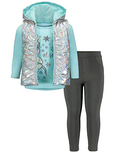Disney Frozen Elsa Little Girls Long Sleeve T-Shirt Hooded Vest Legging Set 6-6X Aqua/Grey