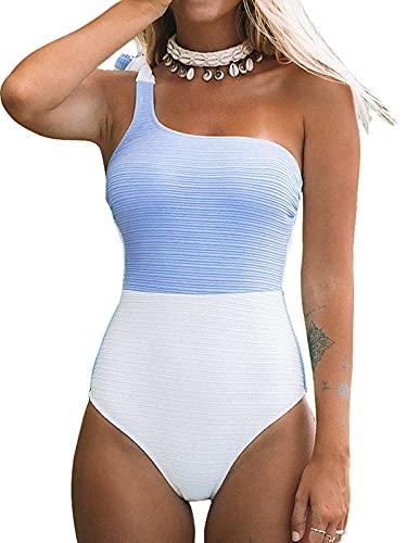 CUPSHE Women's One Piece Swimsuit One Shoulder Tie Strap Color Block Asymmetric Bathing Suits Blue L