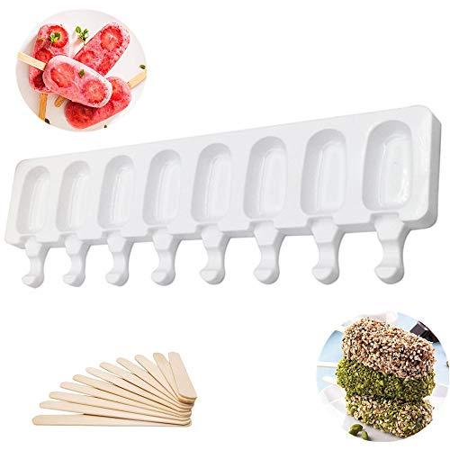 Silikoneisform 8 Cavity Pop Ice Lolly Mould Maker Kreative DIY Ice Cream Stick Schokolade Gefrorenes Dessert Eis am Stiel Tablett Home Küchengeräte Pfanne + 16 Stück Holzstäbchen (groß)