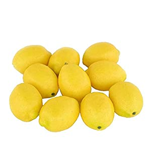 Sohapy 10pcs Yellow Artificial Lifelike Simulation Lemon Fake Fruit for Home Kitchen Cabinet Decoration