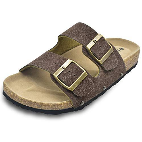 ONCAI dames sandalen met open teen voetbed suède gesp kurk en muiltjes