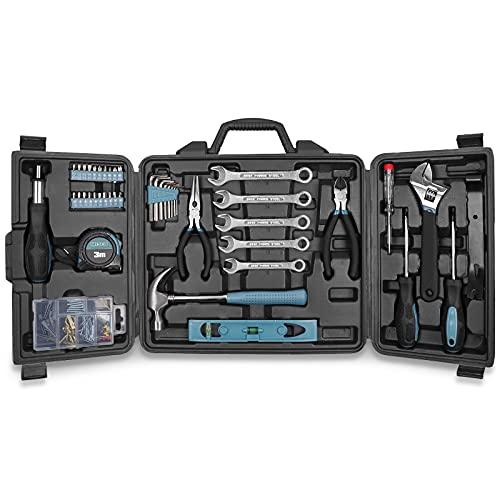 Haushalts Werkzeug Koffer Set, WESCO Heimwerker Werkzeug Set, Werkzeugkoffer Gefüllt, Werkzeuge, 144-teiliges Reparaturwerkzeuge mit Aufbewahrungskoffer, Werkzeug Gadgets für Männer Kleine WS9967