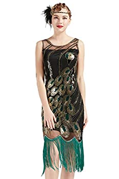 BABEYOND 20 s Vintage Peacock Sequin Fringed Party Flapper Dress