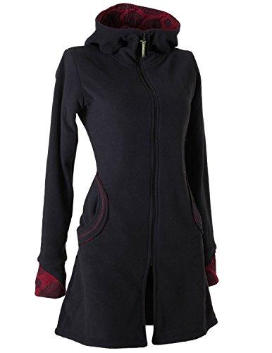 Vishes - Alternative Bekleidung - Warmer Elfen Kurzmantel mit Zipfelkapuze schwarz 44
