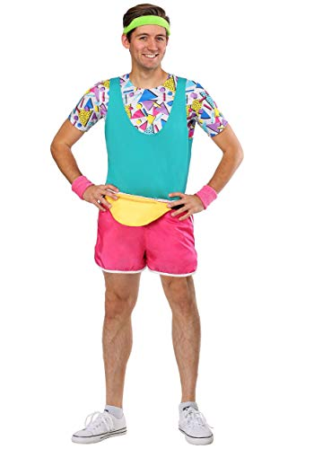 Men's Colorful 80's Workout Fitness Costume, X-small to X-large