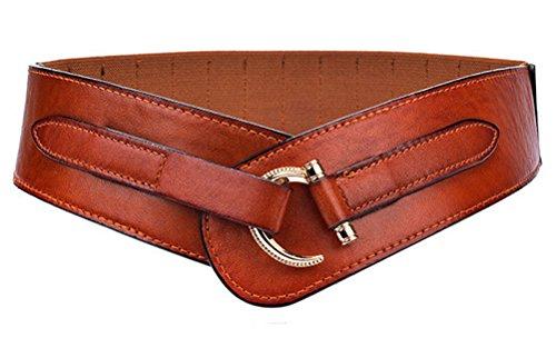 Women Leather Belt Hook Designed Buckle Wide Waist Belt Elastic Stretch Waist Band, Brown, Large