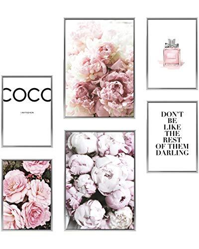Heimlich® Premium Poster Set   Stilvolles Set mit passenden Bilder als Wohnzimmer Deko   2 x DIN A3 & 4 x DIN A4 - ca. 30x42 & 21x30   Bilderrahmen Aluminium Silber » Coco «