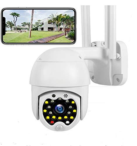 Cámara PTZ Vigilancia Exterior WiFi, Cámara IP Exterior IP66 Impermeable Seguridad Inalámbrica Cámara HD 1080P IR Vision Nocturna Detección de Movimiento Audio Bidireccional