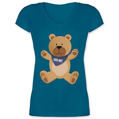 Valentinstag - Kleiner Bär Hug me - 3XL - Türkis - Spruch - XO1525 - Damen T-Shirt mit V-Ausschnitt
