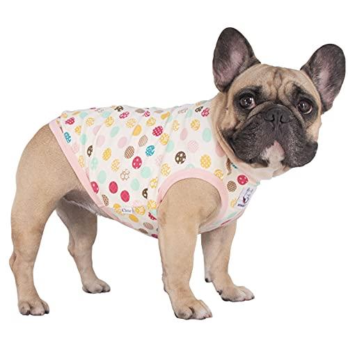 iChoue Cartoon Cute Dog T Shirts Clothes for Medium Size Boy Male Vest Tank Top French Bulldog Frenchie Pug English Boston Terrier Pitbull Polka Dot- L