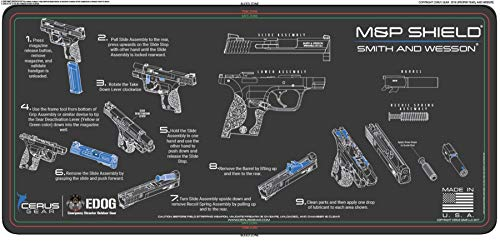 Smith & Wesso S&W M&P Shield EDOG Cerus Gear Instructional Step by Step Heavy Duty Cleaning 12x27 Padded Gun Work Surface Protector Mat Solvent & Oil Resistant