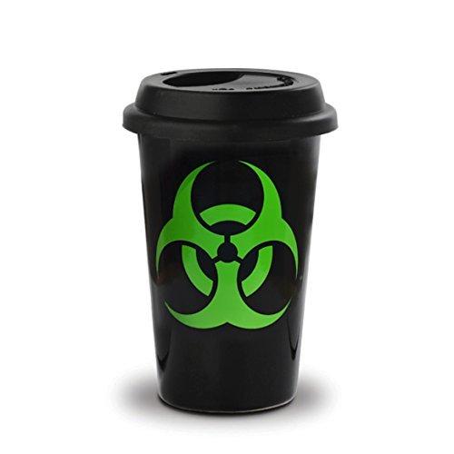 VOODOO ISLAND Tasse mug Petit-déjeuner de céramique Noire avec Couvercle de Silicone à emporter 40 cl. Modèle Biohazard
